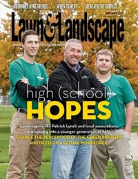 "Students with Landscaper on cover of ""Lawn & Landscape"""