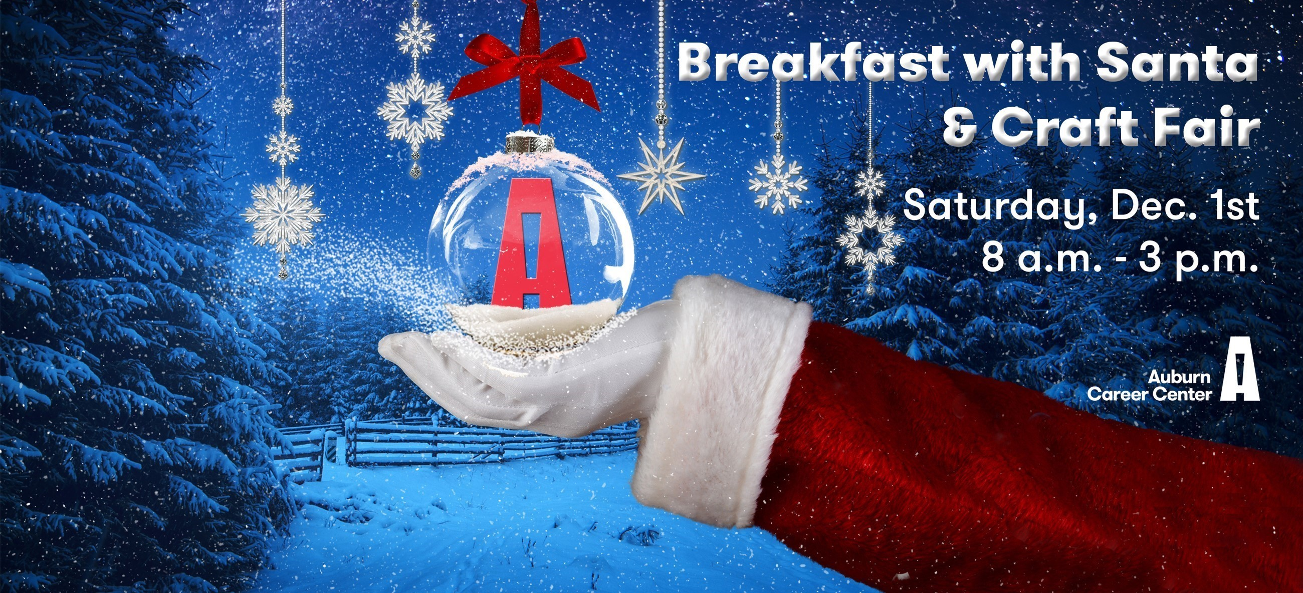 Santa hand holding ornament for Breakfast with Santa & Craft Fair Dec. 1