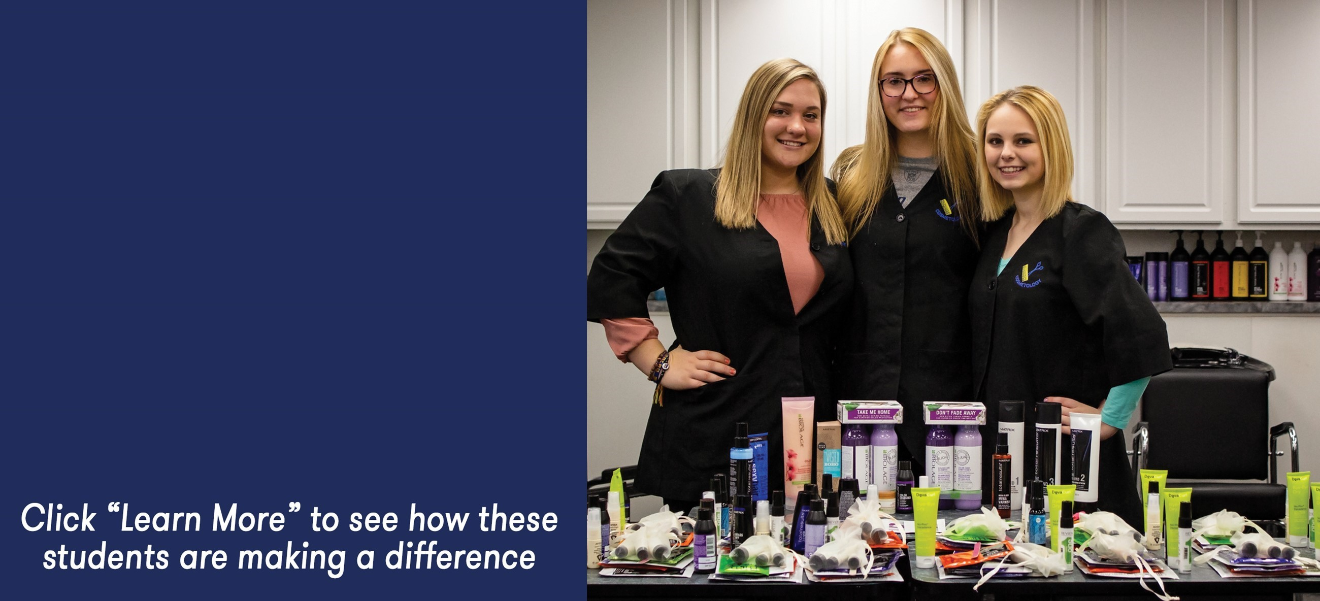 three cosmetology students with product donations