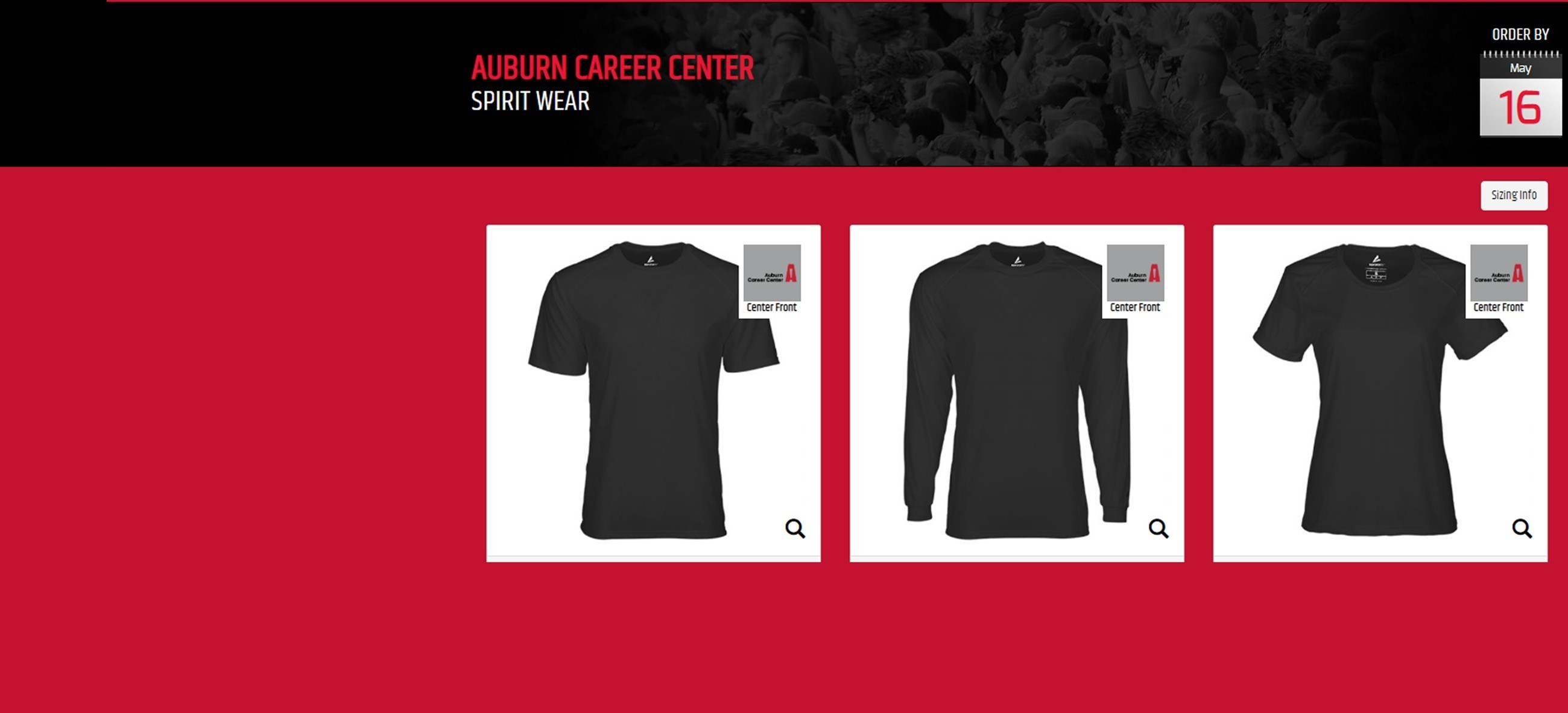 three images of shirts on red and black background