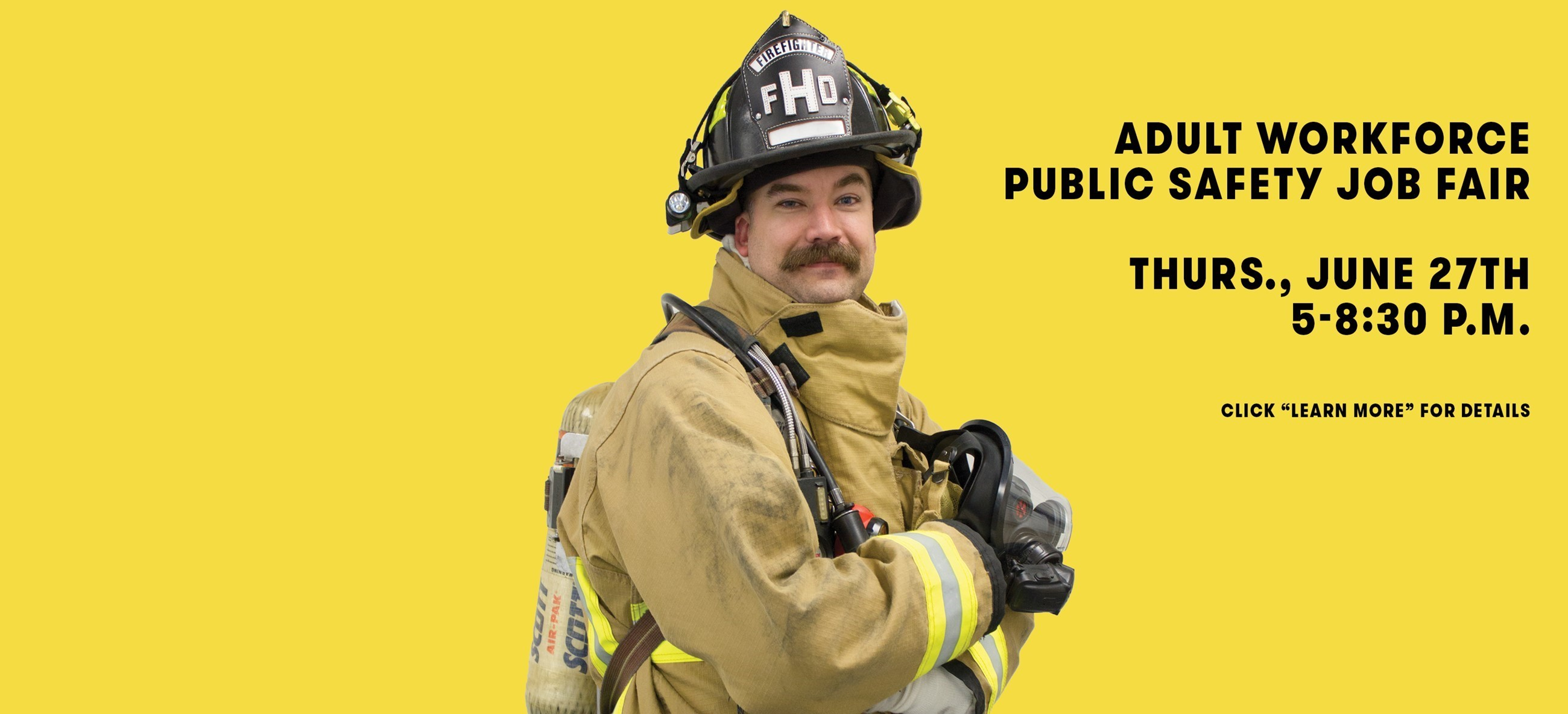 Firefighter standing with yellow background